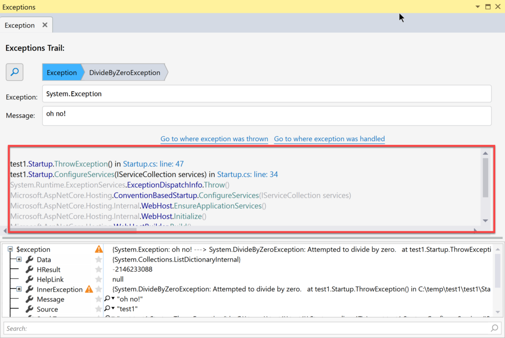 Ozcode Visual Studio Extension stack trace