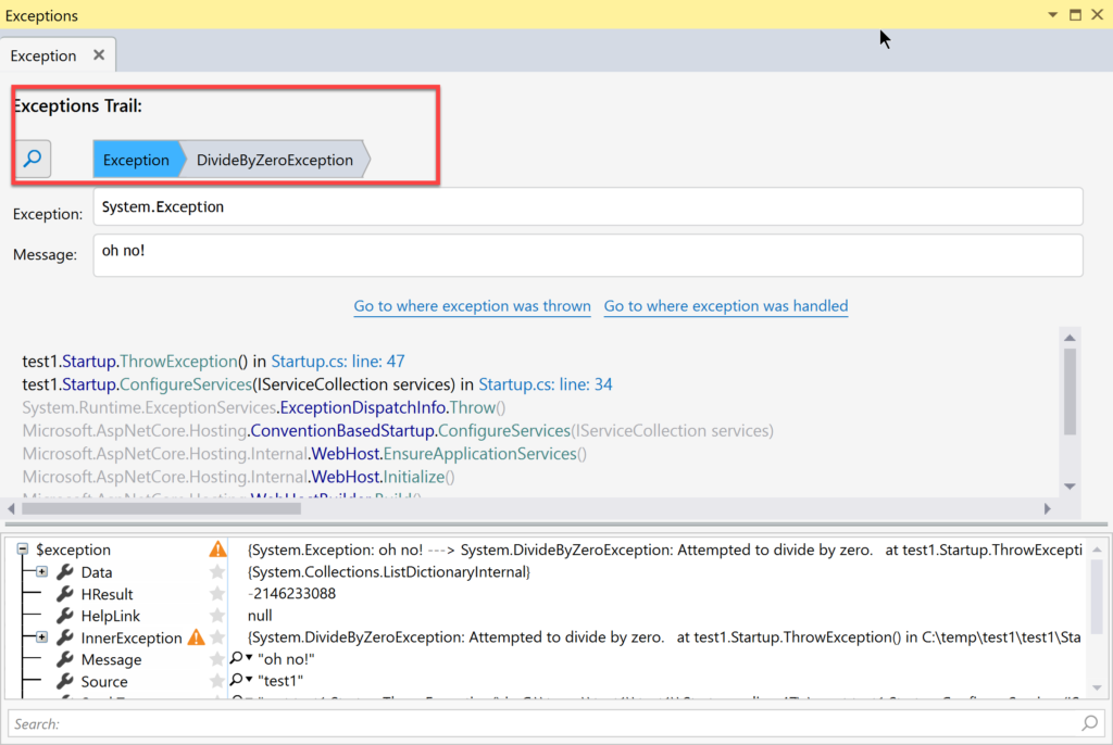 Ozcode Visual Studio Extension Exceptions Trail